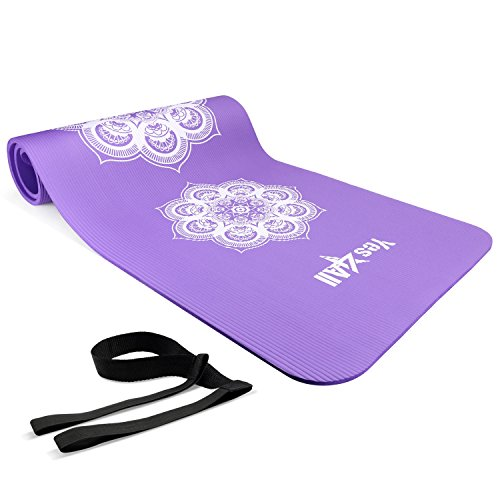 Yes4All Premium NBR Exercise Yoga Mat Printed Design – Foam Yoga Mat High Density 1/2 inch Extra Thick – Thick Yoga Mat with Carrying Strap (Hypnotica Purple)