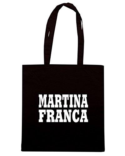 T-Shirtshock - Bolsa para la compra WC0962 MARTINA FRANCA ITALIA CITTA STEMMA LOGO Negro