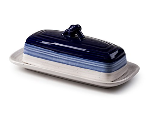 ROSCHER Ceramic Butter Dish (Avalon Blue) 2-Piece Cover and Plate Combo Rustic, Vintage Kitchen Décor Decorative, Country Style Look Counter, Refrigerator, Table ()
