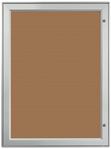 - Displays2go Aluminum Wall-Mounted Enclosed Cork Board for Outdoor, 27 x 37 Inches, Natural Bulletin Board Surface, Silver (ODNBCB9A4)
