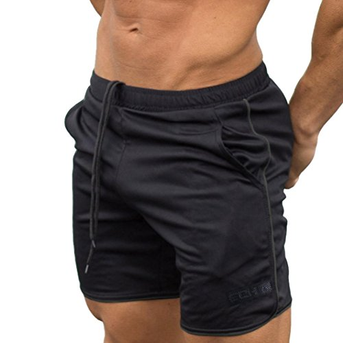 Price comparison product image Men Shorts Casual, Haoricu Clearance Men's Sports Training Workout Summer Shorts Fitness Gym Short Pants with Pocket (M,  Black)