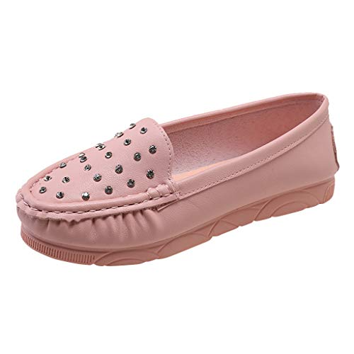 (Sunhusing Womens Shiny Rhinestones Solid Color One Foot Pedal Peas Shoes Lazy Shoes Casual Loafers Shoes)