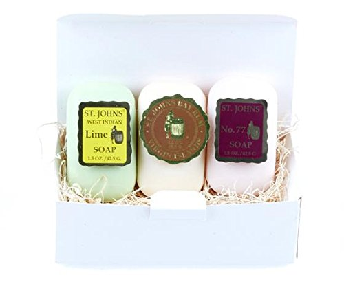 Bay Rum, West Indian Lime, No. 77 St Johns Mini 3 Piece Gift Soap Gift Set for Men. 3 Popular Best Sellers. Luxurious 3X Triple Milled Soap.Creamy lather. Premium Mens Soap Sampler Gift Set for Bath.