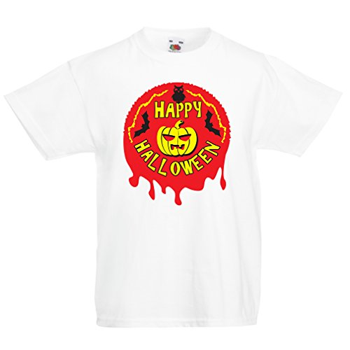 T Shirts for Kids Happy Halloween! - Party Clothes - Pumpkins, Owls, Bats (12-13 Years White Multi Color) -
