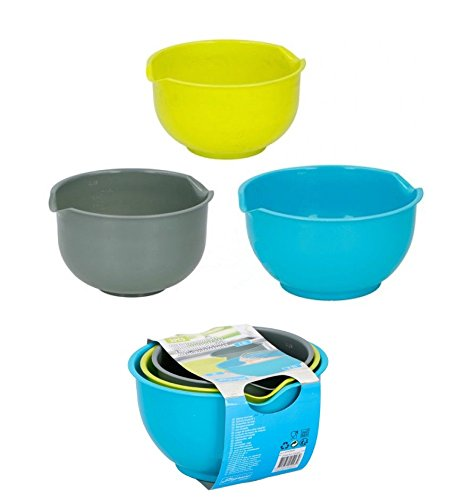 3 PCS MIXING BOWLS PLASTIC NON SLIP BASE POUR LIP 1.5L, 2L, 2.5L COOKING BAKING SALAD KITCHEN Cuisine Elegance