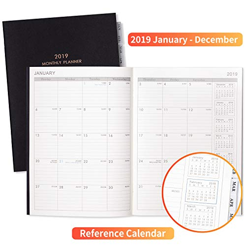 CLEANRANCE Sales!!2019 Monthly Planner - 2 Pack Tabbed Calendar Planners 2019 with Thick Paper, 2018-2020 Calendar + 2019 & 2020 Yearly Planning+ 12 Months Planner + Contacts + Notes, 8.5