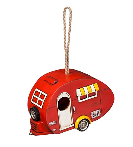 Plow & Hearth Retro Red Camper Birdhouse - 8 L x 4 W x 12 H