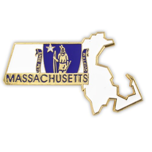 PinMart State Shape of Massachusetts and Massachusetts Flag Lapel Pin