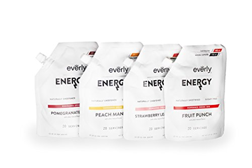 Everly Energy - Natural Energy Drink Mix Powder, Sugar Free, Natural Sweeteners, Organic Caffeine, Keto Diet, Water Flavoring & Enhancer - Pouch, 20 Servings (Variety Pack)