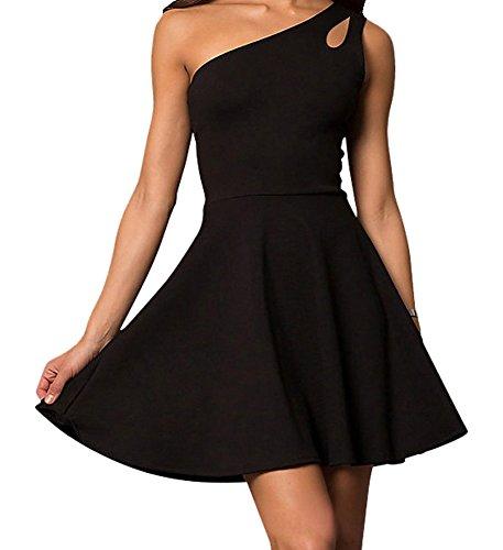 One Shoulder Mini (Cheryl Creations Women's One Shoulder Comfortable Day/Night Skater Mini Dress | Asymmetrical Teardrop Cutout)