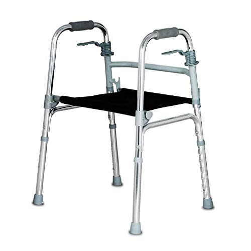 Folding Elderly Walker,Lightweight Aluminum Alloy Walking Frame Daily Living Aid with Seat and Folding Handle Transport Chair (2 In 1 Rollator And Transit Chair)