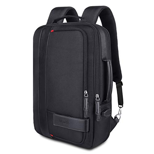 (JEMIA - Black Expandable Backpack with USB Outlet Charging Port and Laptop Holder Sleeve)