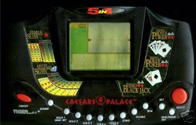 Tiger Electronics Caesars Palace 5 in 1 Handheld Game (MADE BY TIGER ELECTRONICS, 1995 VERSION). Games on the Handheld are Stars & Stripes Slots, Deluxe Diamond Slots, Video Bonus Poker, Video Draw Poker, & Video Blackjack