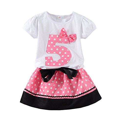 Mud Kingdom Little Girls Birthday Outfits I Am 5 Years Clothes Skirt Sets Pink (5th Birthday Girl)