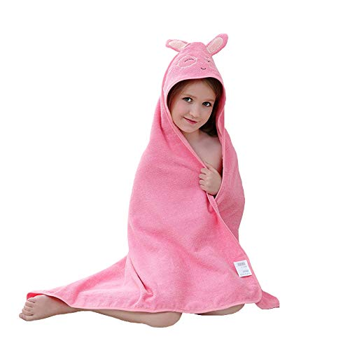 YIFAYS Baby Hooded Towels Soft and Thick Cotton Bath Set for Girls and Boys Cute Animal Face Towel Gift Set (Pink) ()