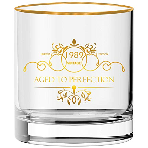 30th Birthday Gifts for Men, 30thAnniversaryGifts, Vintage 1989 Whiskey Glass with Gold Rim, Party Decorations and Supplies for Dad, Mom, Husband, Wife - 10 oz