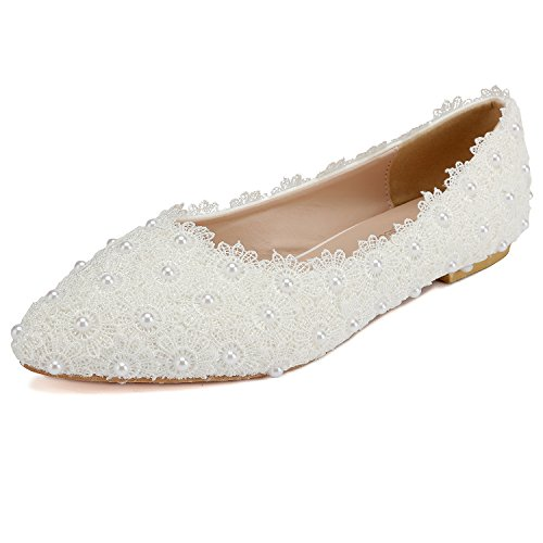 ODEMA Womens White Pointed Toe Satin Lace Flower Crystal Pearl Wedding Shoes 3-white