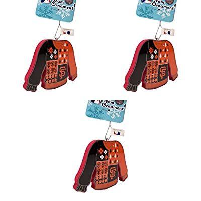 MLB San Francisco Giants Foam Ugly Sweater Christmas Ornament Bundle 3 Pack By Forever Collectibles