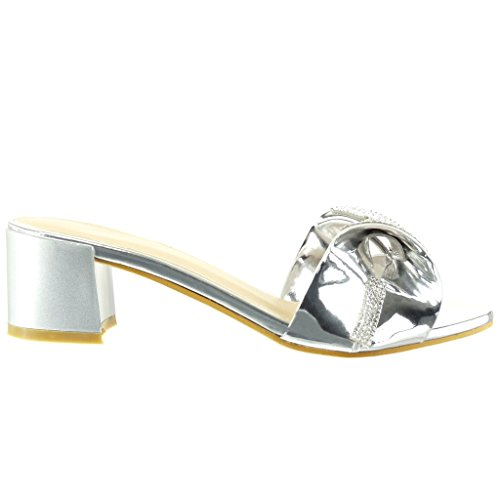 Angkorly - Chaussure Mode Sandale Tong slip-on femme noeud papillon strass diamant Talon haut bloc 5 CM - Argent