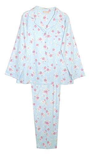 La Cera Women's Flannel PJ Set Plus Size 2X Blue/Pink Floral