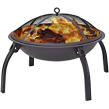 """Giantex 22"""" Outdoor Metal Firepit Backyard Patio Garden Round Stove Fire Pit With Poker(Round)"""
