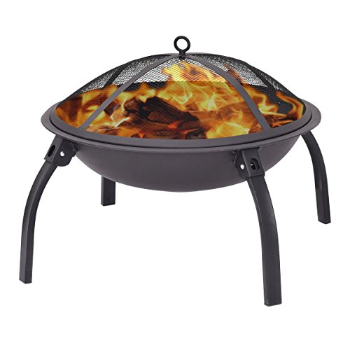"Giantex 22"" Outdoor Metal Firepit Backyard Patio Garden Round Stove Fire Pit With Poker(Round)"