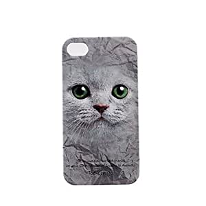 QHY Animal Series Green Eyes Cat Pattern Plastic Hard Case for iPhone 4/4S