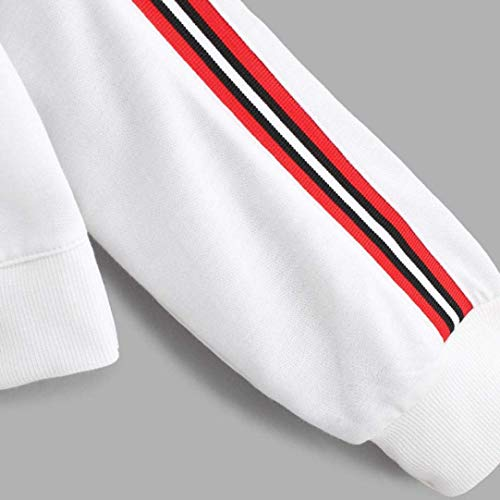 En Zhrui Zipper Bouton Chemisier shirt T Élégant Femmes Manches Imprimer À Sweat Longues Haut Haut Vrac Pull Col Rayé Pull ZZfS1Aq