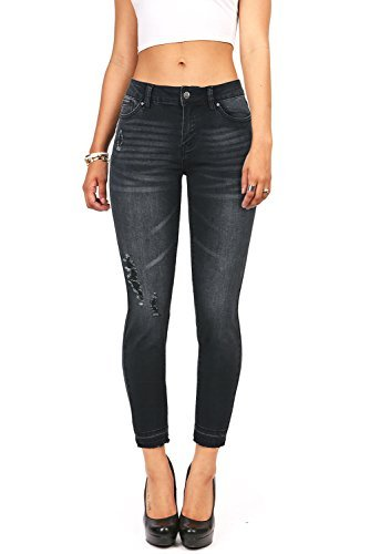 Wax Denim Women's Juniors Ankle Jeans w Rough Ankle Hem (7, (Faded Black Jeans)