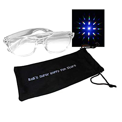 Fireworks Diffraction Glasses - 2 Glasses - Clear Plastic Frames - Starburst Prism Effect EDM Rainbow Kaleidoscope Rave Eyeglasses with Storage Pouch: Health & Personal Care