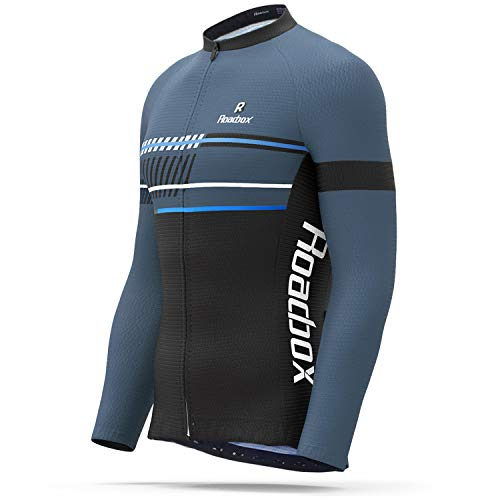 Roadbox Cycling Jersey - Men's Full Zip Moisture Wicking Running Long Sleeve Tops Mountain Bike Biking Shirts, Breathable Bicycle Jacket with Pockets