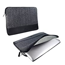 """Alston Craig Herringbone Tweed & Leather protective sleeve case cover 11"""" Laptop / Tablets / Ultrabooks Devices including; Macbook Air Pro / Asus Vivotab / Zenbook / Lenovo Yoga / Thinkpad / Lynx / Samsung Series 5 & 9 Ultra / Dell XPS - Black"""
