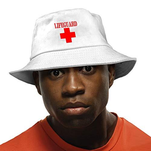 Lifeguard Gear Logo Unisex Cotton Packable White Travel Bucket Hat Fishing Cap ()