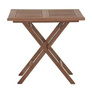 Jardín Madera maciza, Mesa plegable Mesa de madera teca sin tratar 80x 80cm mesa plegable–miamo