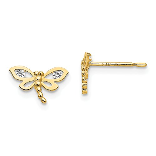 (Madi K 14K Yellow Gold CZ Small Dragonfly Post Earrings (Approximate Measurements 6mm x 9mm) )