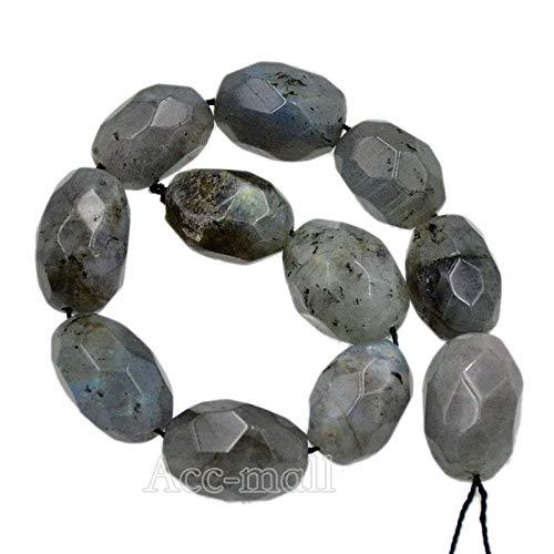 """FidgetFidget Loose Beads Natural Faceted Gemstones Oval Nugget Freeform 8"""" 10mm-15mm Design Labradorite"""