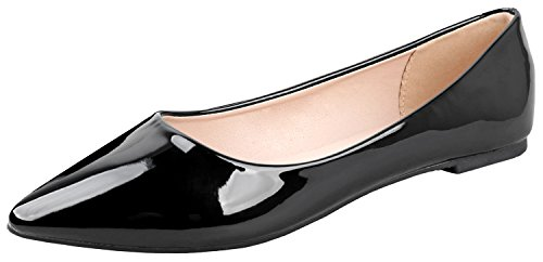 - Bella Marie Angie-53 Women's Classic Pointy Toe Ballet Slip On Suede Flats Black Patent