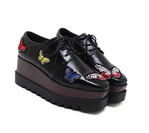 Bomba 7.5 Cm Cuña Tacón Zapatos DE 5,5 Cm De Espesor Plataforma Zapatos Mujer Cuadrado Toe Cordón Bordado De Mariposa Zapatos UE Tamaño 34-39 Black