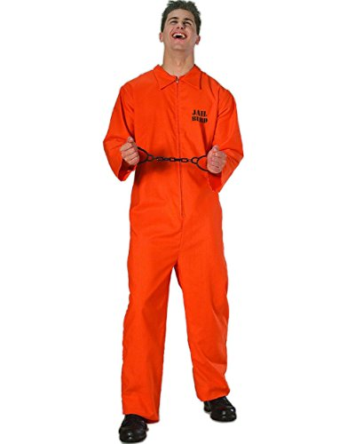 Convict Clown Child Costume (Prisoner Costume Orange Jailbird Jumpsuit Convict Adult Men's Standard Size)