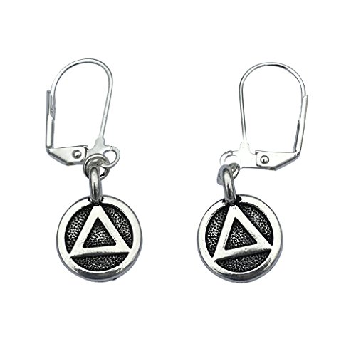 AA Sobriety Recovery Triangle Charm Necklace & Earrings, Silver Plated Black Leather Adjustable 16-18'' by DragonWeave (Image #2)