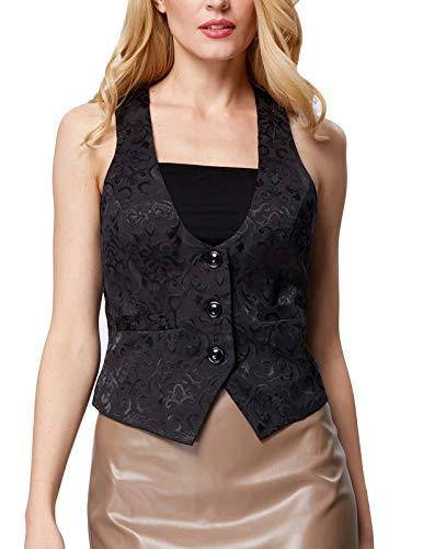 GRACE KARIN Womens Jacquard Waistcoats Vest Button Front for Work (S, Black 677) - Waistcoat Black