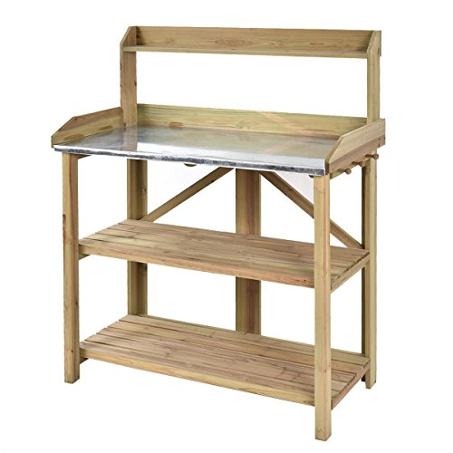 AK Energy Flower Wooden Planting Potting Work Station Metal Sheet Table Shelves Storage Side Pegs