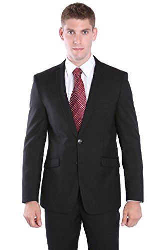 2 Piece Modern Slim Cut Suit for Men - Black, 40 Regular