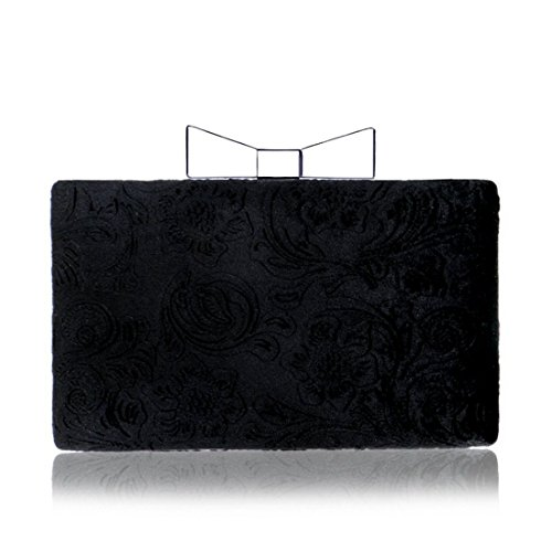 And Lady Color European Pattern Bag Suede evening Hand Bag Dinner Black bag Black Evening Banquet Fly American 5q6wY5