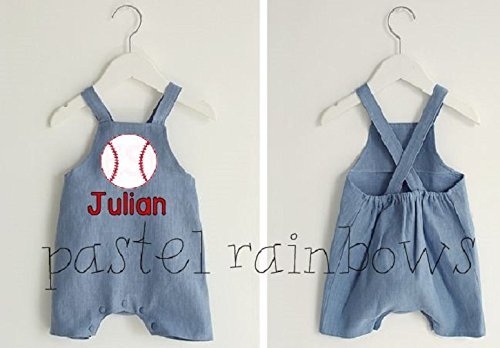 Custom Personalized Boys Blue Jean Baseball Shortall-Boys Sports Outfit