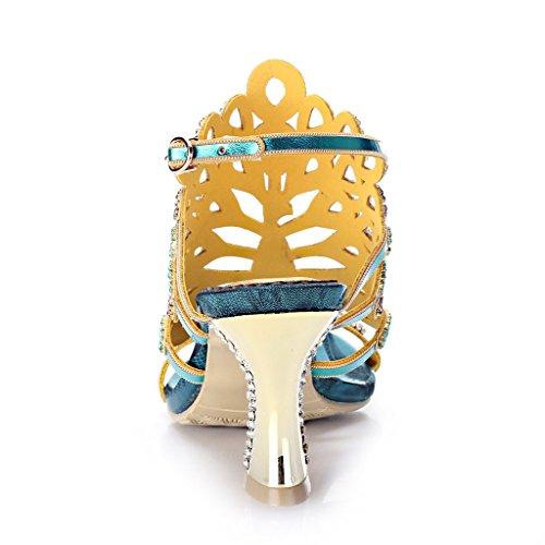 Crc Kvinna Sexiga Trevlig Förvånande Påfågel Formad Gnistan Strass Mikrofiber Material Kväll Part Bröllop Mode Sandaler Chunky-blue