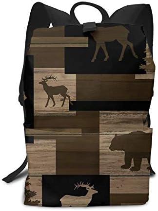 aiyouwuqu-Rustic Wood Bear Moose Pattern Lightweight Backpacks Casual School Bags Daypacks Laptop Backpack Adult Backpack Men and Women