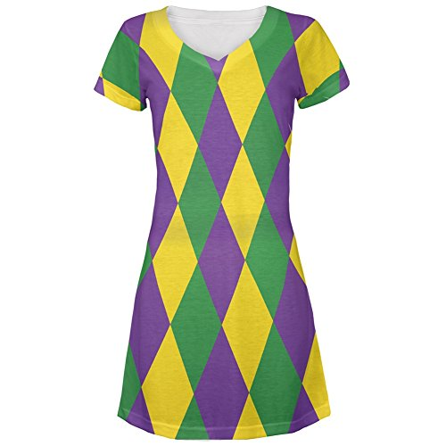 Mardi Gras Jester Costume All Over Juniors Cover-Up Beach Dress - Large - Mardi Gras Costumes Designers