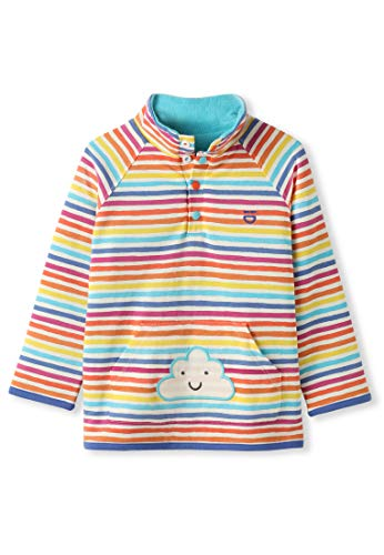 (Reversible Organic Cotton Baby Fleece Girl Boy - Rainbow Stripes Cloud Applique (6-12M))