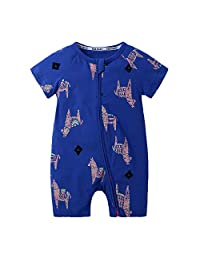 Kids Tales Baby Girls Short Sleeve Cotton Pajamas Infant Graphic Zipper Romper